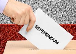 Logo del Referendum costituzionale con mano che inserisce la scheda elettorale nell'urna