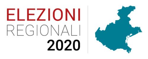 Logo delle Elezioni Regionali 2020 che riporta lo stesso titolo ed una cartina della Regione Veneto