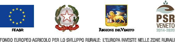 Bandiera UE, stemma dello Stato italiano, stemma della Regione del Veneto e logo del PSR Veneto sopra lo slogan di riferimento al fondo FEASR