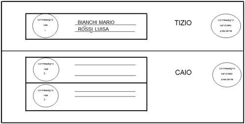Rappresentazione fac-simile di scheda per la modalità di voto n. 7