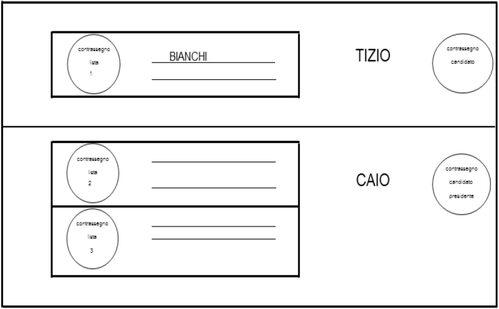 Rappresentazione fac-simile di scheda per la modalità di voto n. 5