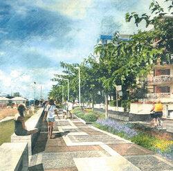 Vista da via Maia del percorso in progetto – nuova pavimentazione del  percorso pedonale, nuova pista ciclabile a destra, nuovo impianto di illuminazione stradale