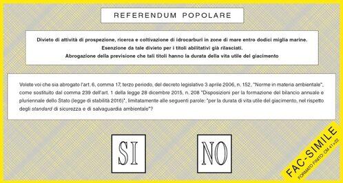Fac-simile della SCHEDA per il referendum popolare - parte INTERNA