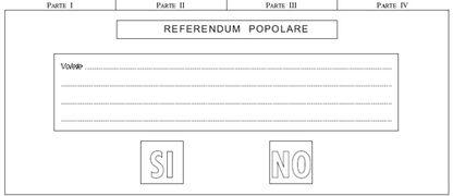 Scheda fac-simile del Referendum popolare