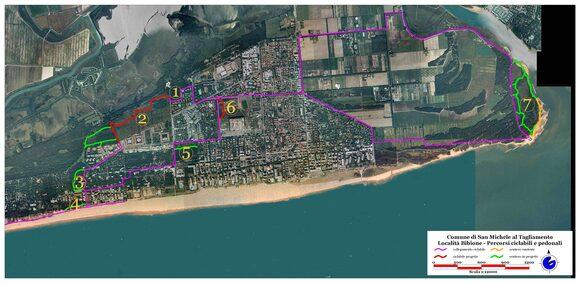 Mappa dei percorsi ciclo  pedonali realizzati in collaborazione con il Servizio Forestale Regionale